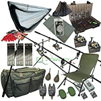 Full Carp Fishing Set up Rods Reels Hair Rigs Bite Alarms Holdall Fishing Chair from NGT
