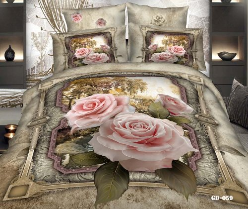 Queen King Size 100% Cotton 7-Pieces 3D Pink Roses Vintage Floral Prints Fitted Sheet Set With Rubber Around Duvet Cover Set/Bed Linens/Bed Sheet Sets/Bedclothes/Bedding Sets/Bed Sets/Bed Covers/ Comforters Sets Bed In A Bag (Queen) front-687821