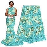 pqdaysun 5 Yards African Net Lace Fabrics Nigerian French Fabric Embroidery and Rhinestones Guipure Cord Lace (aqua) (Color: Aqua, Tamaño: 51 Inches)