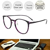 Reading Glasses 0.25 Violet Tortoise Round Eyeglasses Frames for Women, Light Weight Glasses (Color: Violet Tortoise, Tamaño: Medium)