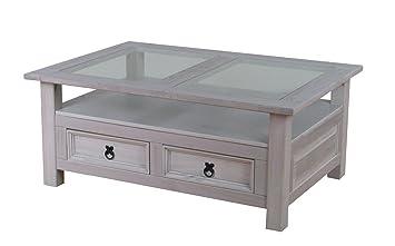 Couchtisch New Mexico grau Kiefer massiv Mexiko Wohnzimmer Tisch Beistelltisch