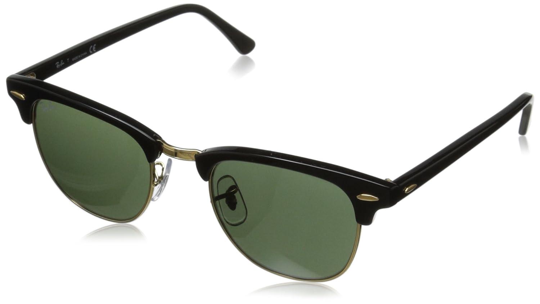 Ray-Ban RB3016 Classic Clubmaster Sunglasses, Non-Polarized, Ebony/Arista Frame/Crystal Green Lens, 49 mm