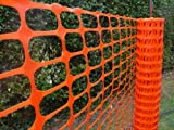 Orange plastic fencing mesh 1mx50m. 5.5kg/roll (110g/m2). Barrier fencing mesh for construction site safety, building sites, garden fences, sports events, barricades, dog and pet areas. Manufactured from polypropylene plastic, orange fencing mesh is a te