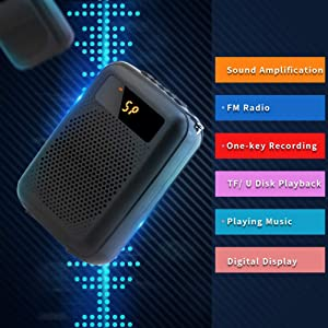 Voice Amplifier Portable FM Radio Wired Speaker Voice Amplifier for Teacher Shopping Guide The Aged Guide and So On Built-in Rechargeable Battery (Tamaño: Wired)