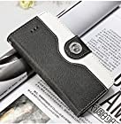 myLife (TM) Cloudy Black + White {Modern Design} Faux Leather (Card, Cash and ID Holder + Magnetic Closing + Hand Strap) Slim Wallet for the iPhone 5C Smartphone by Apple (External Textured Synthetic Leather with Magnetic Clip + Internal Secure Snap In Hard Rubberized Bumper Holder)