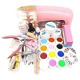 Warm Girl 9W UV Gel Lamp Dryer Nail Art Manicure Set 12 Pure UV Gel Polish Topcoat (Color: E, Tamaño: E)