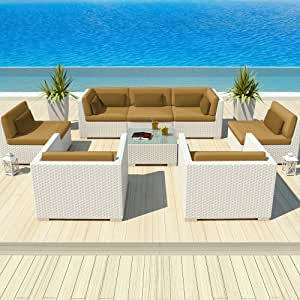 Uduka Outdoor Patio Furniture White Wicker