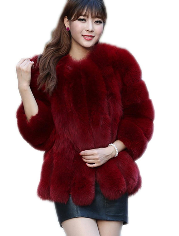 YR.Lover Damen wirklich Ganze Haut Fell Fuchs Pelz 7/10 Muffe Mantel Mit Runde Kragen bestellen