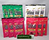Jelly Belly Extreme Sport Beans Variety Pack 1oz (12 Pack) Watermelon, Assorted Flavors, Pomegranate & Cherry (3 Packs of Each Flavor) with a Jarosa Bee Organic Peppermint Lip Balm
