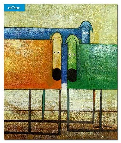 elOleo Pop Art – Das lustige bunte Hundetrio 60×50 Gemälde auf Leinwand handgemalt 83248A online bestellen
