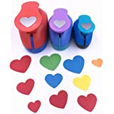 TECH-P Set of 3PCS Heart (2 inch+1.5 inch+1inch) Craft Punch Set Paper Punch Craft Scrapbooking Eva Punches Valentine's Day Gift Punch(Heart) (Color: Heart)