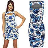Ladies Celeb Inspired Amy Childs Cut Out Floral Stretch Bodycon Women's Dress 8-14 [Blue Floral 10]