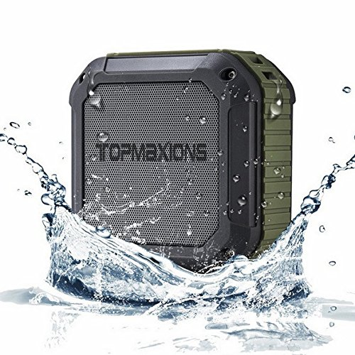 Portable Bluetooth 4.0 Speakers,Topmaxions Mini Wireless Outdoor and Shower Waterproof Sport Speaker with 10 Hour Rechargeable Battery Life,Pairs with All Bluetooth Devices (Army Green)