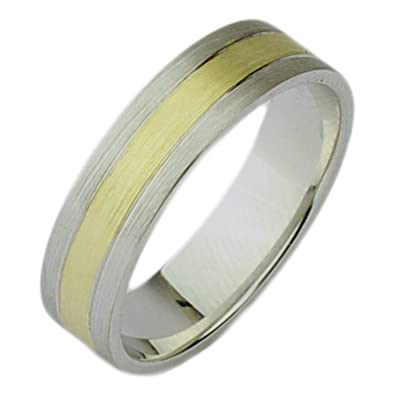 Two Tone Ring 6mm 9ct Yellow Gold and 925 Sterling Silver Two Colour Wedding Ring Band