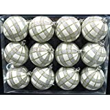 Queens Of Christmas WL-ORN-12PK-PLD-GO 12 Pack Ball Ornament With Gold And Silver Plaid Design, White
