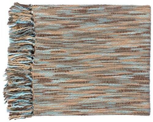 Surya Teegan Blue and Beige Throw Blanket