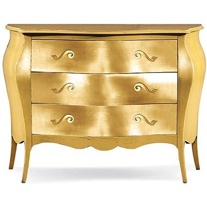 Kommode mit 3 Schubladen, Stil klassisch, aus Massivholz u. MDF, Ausfuhrung Goldblatt - Ma?e 100 x 42 x 85