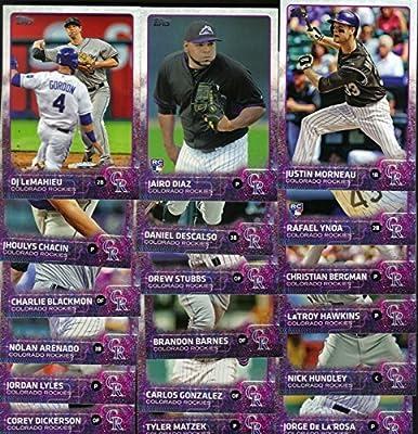 Colorado Rockies 2015 Topps MLB Baseball Regular Issue Complete Mint 23 Card Team Set with Troy Tulowitzki, Justin Morneau, Carlos Gonzalez Plus
