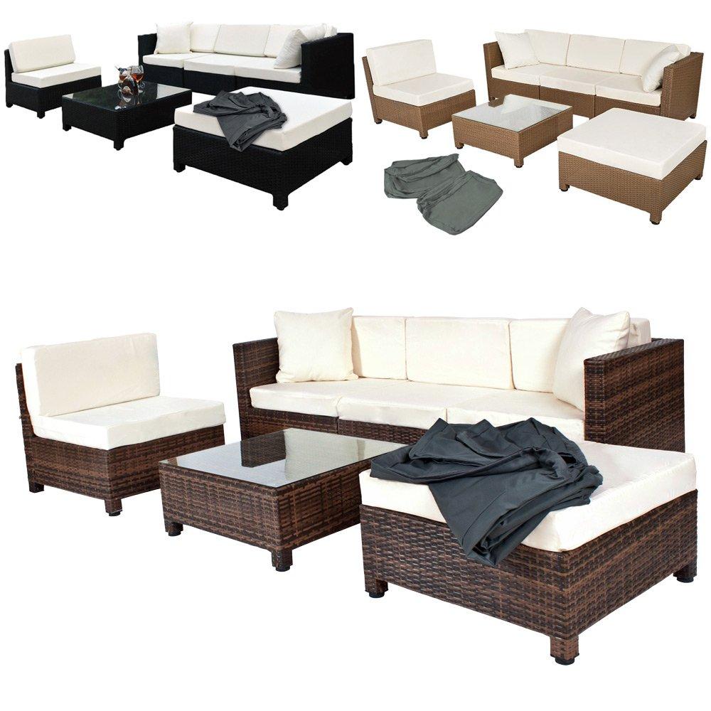TecTake Hochwertige Aluminium Luxus Lounge mit 2 Bezugssets Poly-Rattan Sitzgruppe Sofa Rattanmöbel Gartenmöbel mit Edelstahlschrauben – diverse Farben – (Mixed-Braun) günstig online kaufen