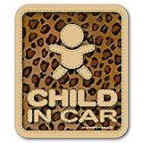 【マグネット】豹柄 CHILD IN CAR チャイルドインカー マグネットステッカー/ヒョウ柄 子供が乗ってます チャイルドinカー