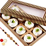 Rakhi Gifts Sweets- Gold And Brown Kaju Peda Box