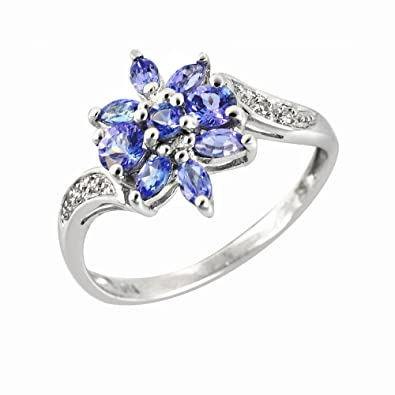 Ivy Gems 9ct White Gold Tanzanite and Diamond Floral Cluster Ring