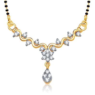 VK Jewels Zig Zag Stones Gold and Rhodium Plated Alloy Mangalsutra for Women made with Cubic Zirconia - MP1146G [VKMP1146G] at amazon