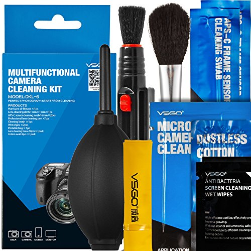 VSGO DKL-6 Camera Cleaning Kit Essential Package for DSLR and Sensitive Electronics: APS-C Sensor and Cotton Swab, Lens Pen/Brush, Wet Wipes, Lens Cleaning Paper, Microfiber Cloth, Air Blower, Blue (Color: Blue)