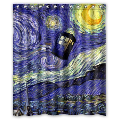 [abigai Starry Night by Vincent Van Gogh Waterproof Bathroom Fabric Shower Curtain 72