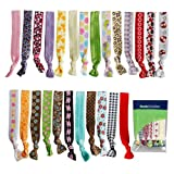 Bundle Monster 25pc Assorted Ponytail Decorative Color Print Design 1.5cm Girl Hair Band Ties Mixed Lot