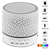 Lonchan CTX-liewenyinxiang-bai Mini Bluetooth Speaker, Wireless Portable Sound Box Subwoofer Speaker with Mic & Colorful LED Light,Support USB/AUX/TF Card/FM Music,White