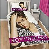 Kinder Mädchen Wende-Bettwäsche mit Justin Bieber Motiv, für Einzelbetten (Einzelbettgröße) (Weiß/Rosa)
