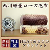 日本製 西川 毛布 シングル 軽量 ローズ毛布 ブラウン 「吸湿発熱ヒート&エコ」 アウトレット (2K1049) (ブラウン)