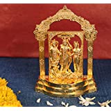 Jaipuri Haat Lord Ram Temple Along With Family And Hanuman In Gold Metal Finish Ideal For Pooja And Gift Purpose