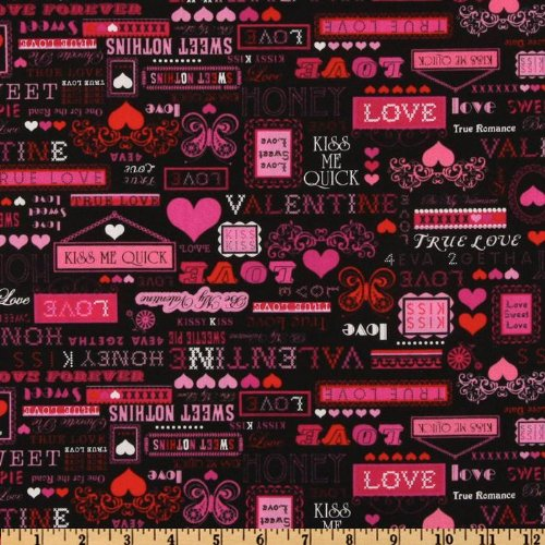 44'' Wide Timeless Treasures True Love Words Black Fabric By The Yard