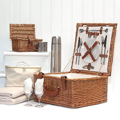 Deluxe-Harpenden-Two-Person-Wicker-Picnic-Hamper-Basket-with-Accessories-for-2-Chiller-Bag-Fleece-Picnic-Blanket-Wine-Glasses-China-Plates-Flask-Mugs-More-Luxury-Wedding-Anniversary-Enagagement-Retire