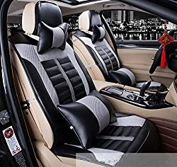 See Amooca Luxurious Airbag Compatible Universal Full Set Needlework PU leather Front Rear Car Seat Cushion Cover Black&Gray 10pcs Details