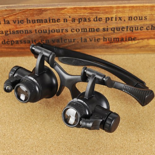 Docooler 10X 15X 20X 25X Watch Repair Glasses Eyewear Magnifier Loupe With Led