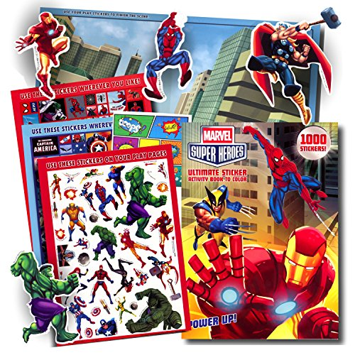 Marvel Super Heroes Stickers Coloring & Activity Book with Pop Art Reward Sticker ~ Over 1000 Super Hero Stickers ~ Captain America, Iron Man, Hulk, Thor, Wolverine, Spiderman, Black Widow, and More! (Marvel Maze compare prices)