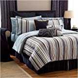 4 PC. SEA ISLAND NAVY / BLUE / TAN STRIPED COMFORTER SET , QUEEN, BLUE