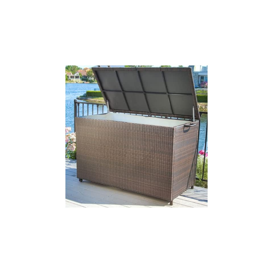 Pool Supply Storage for Swimming Pool Accessories Brown Wicker Patio Storage Box. This Weather Resistant Wicker Storage Cabinet Has Interior Lining and Wheels to Move It Easily. Ideal for Patio Cushion Storage but Also Works for Pool Supplies.