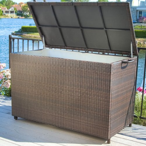 Pool Supply Storage for Swimming Pool Accessories Brown Wicker Patio Storage Box. This Weather Resistant Wicker Storage Cabinet Has Interior Lining and Wheels to Move It Easily. Ideal for Patio Cushion Storage but Also Works fo...