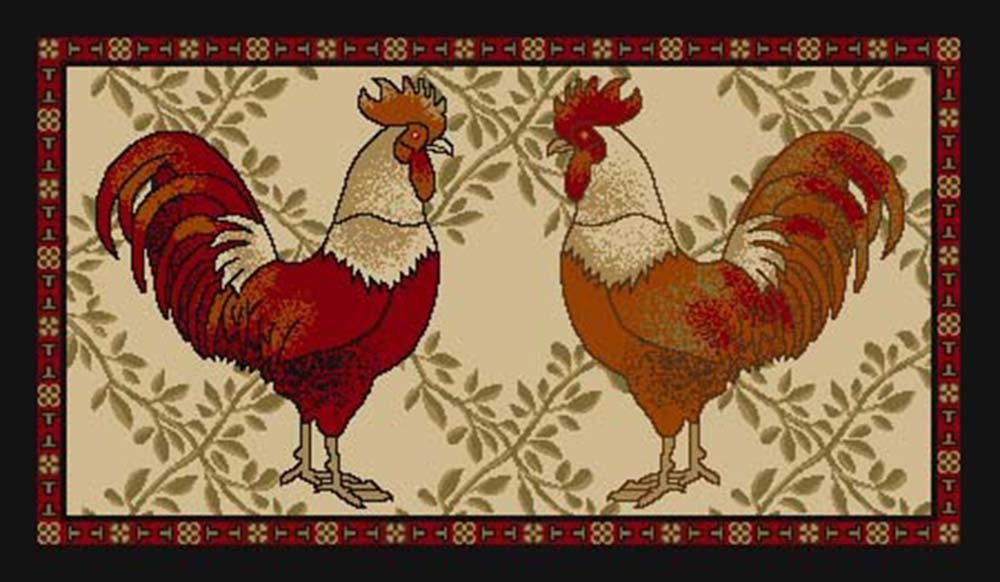 """Kitchen Collection Rooster Beige Multi-Color Printed Slip Resistant Rubber Back Latex Contemporary Modern Runner Area Rug (9112) (18"""" x 30"""" Mat)"""