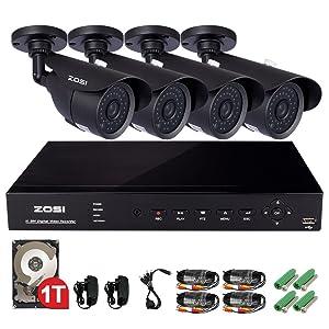ZOSI防犯キット デジタルレコーダー+防犯カメラ4台 高画質 52万画素 夜間監視対応 スマホ遠隔監視