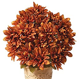 Floral Chrysanthemum Bushes - Set Of 3 Rust