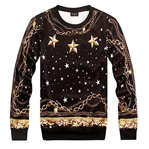 Tm Winter Mens Hip Hop Cotton Stars Universe Printing Hoodie Sweater Sweatshirt