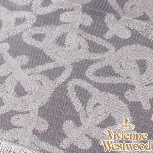 (ヴィヴィアン・ウエストウッド) Vivienne Westwood s20-f756-0003 オーブロゴ入りストールS20-F756-0003 グレー×ネイビー 正規品