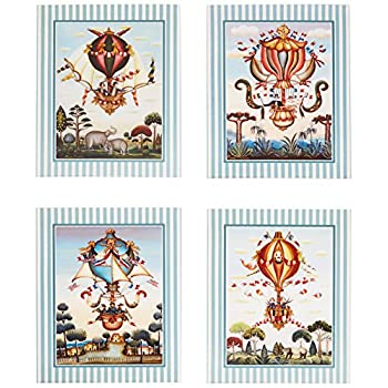Set of 4 Vintage Hot Air Balloon Circus Elephant Art Prints Posters 11x14 Inches Bedroom Home Decor Great for Framing!