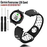 Garmin Forerunner 235 Watch Band-Budesi Replacement Silicone Watch Bands Strap for Garmin Forerunner 220/230 / 620/630 / 735XT Smart Watch (Color: Black-white)