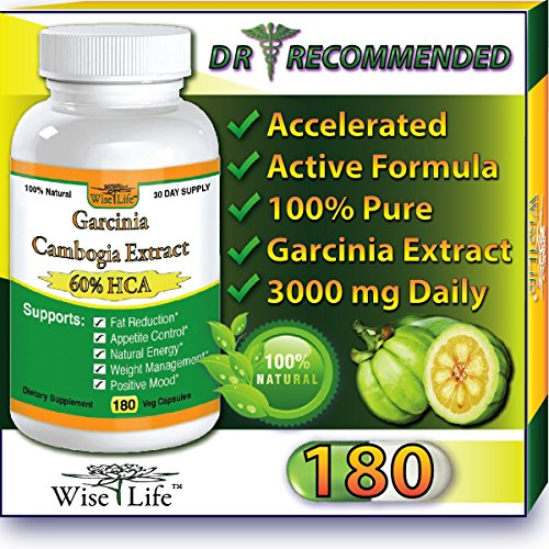 WiseLifeNaturals Fat Burner & Total Appetite Control, Number One Weight Loss Formula, Dr Recommended, 180 Caps, with Pure Garcinia Cambogia Extract, 1500 mg - 3000mg Daily, Ranked Best Formula of all Diet Pill Kits That Works (Number 1 Weight Loss compare prices)